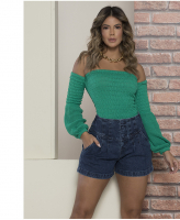 Cropped ombro a ombro tricot